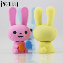 2 pcs/lot JWHCJ Cute Smiling face rabbit eraser Kawaii stationery school office supplies correction supplies child's toy gifts