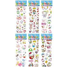 2017 New Hello Kitty Model Toy 6pcs/set Hello Kitty Foam Cartoon 3D Sticker Fashion Cute DIY Craft Scrapbook Stickers(China)
