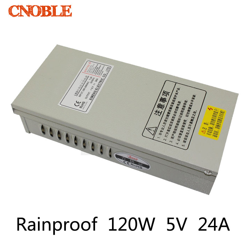120W 5A 24V Rainproof outdoor Single Output Switching power supply smps AC TO DC for LED<br>