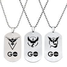 2016 New Pokemon Go Necklace Game Anime Stainless Steel Team Valor Mystic Instinct Logo Beads Chain Google Game Pendant(China)