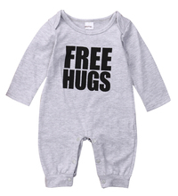 Long Sleeve Romper Free Hugs Letter Jumpsuit Gray Autumn Outfits Cotton Newborn Baby Boys Clothes Warm 0-24M(China)