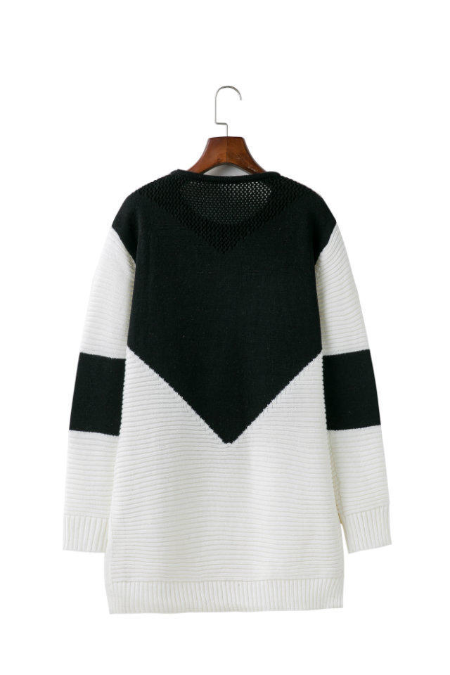 Autumn Patchwork Sweater, Women's Sweater, Pullover, Loose Jumper Hollow Out Split Sweater 11