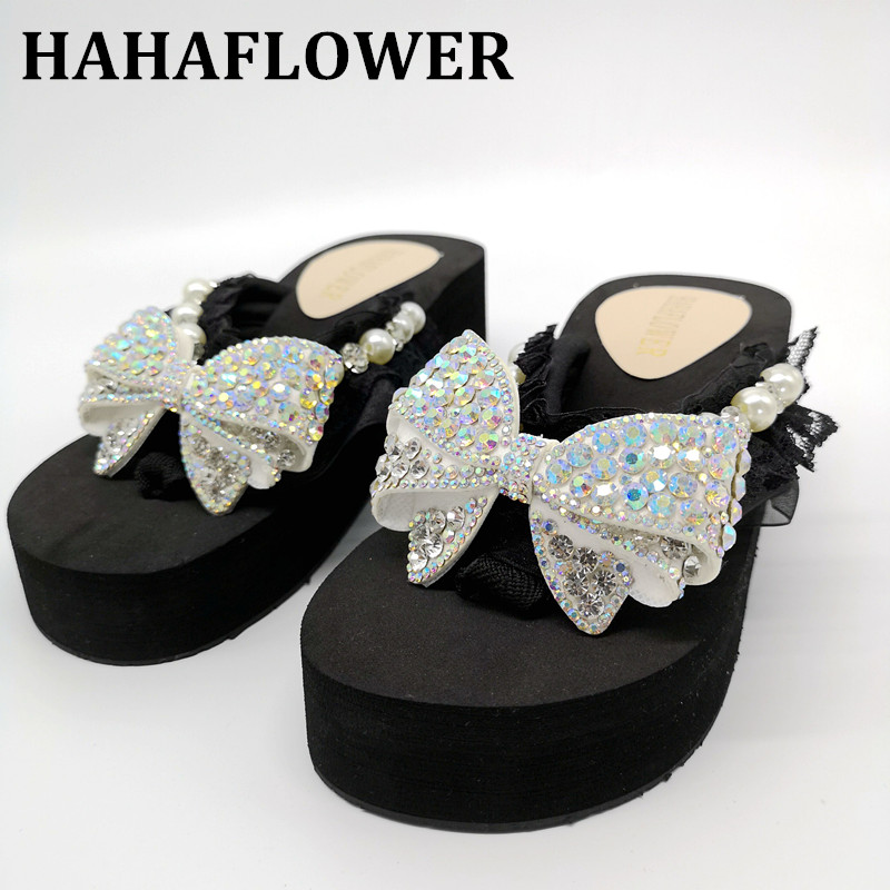 Womens Sandals Ethnic Style Summer Wedges Slides Handmade Flower Platform Slipper Shoes Comfortable Non-Slip Sole