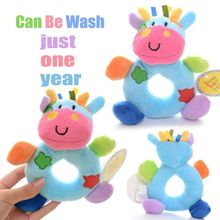 Baby Development Plush Blue Milk Cow Rattles Toy Hand Bell Train Doll Best Gifts for Kids Infant 6*4'' New #LNF