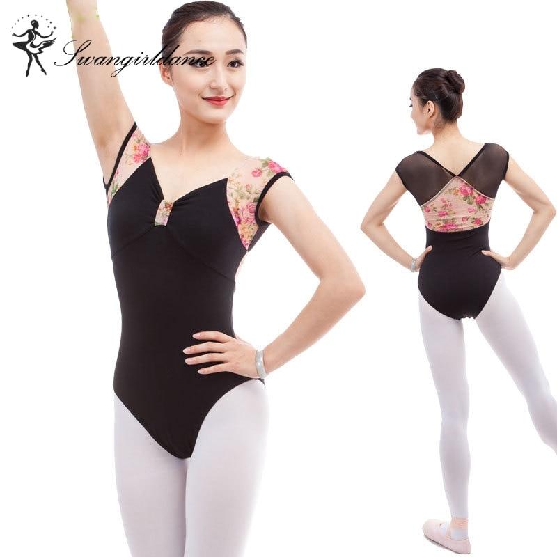 black short sleeve ballet leotard with flowers mesh adult dance costumes ballet dancewear ballet costume for sale CS0309