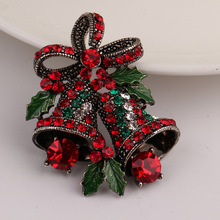 Fashion Silver Bowknot Set Auger Christmas Bell Brooch Business Suit Brooch Women Clothing Accessories Jewelry Gifts Brooch(China)
