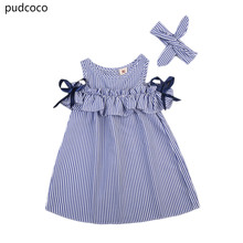 Summer Toddler Kids Baby Girls Dresses Clothes Striped Off-shoulder Ruffles Dress Blue Party Ball Gown Dress Girls Clothing(China)