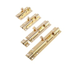 Durable Brass Door Slide Lock Catch Security Latch Sliding Lock Home Gate Safety Hardware 4 size Optional(China)