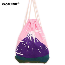 EXCELSIOR Women Vintage Mount Fuji Printed Canvas Drawstring Backpack Ladies Casual Shoulder Bag Travel Beach Bag Mochila Bucket(China)
