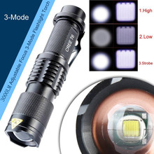 18650 Battery 3000 Lumens Adjustable Focus 3 Modes CREE XM-L T6 Powerful LED Flashlight Torch Outdoor Camping Tactical led Lamp(China)