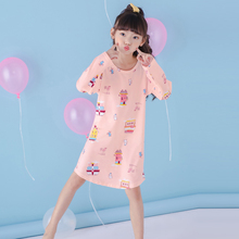 Spring autumn Fashion Princess Girls nightdress New Lsting 2017 cartoon Dresses kids sleep Dress Cotton children nightgowns(China)