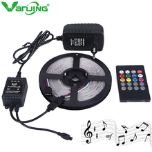 Music Control RGB LED Strip Waterproof SMD 3528 5M 300leds Diode Tape DC 12V 2A Power Adapter Music Remote Controller(China)