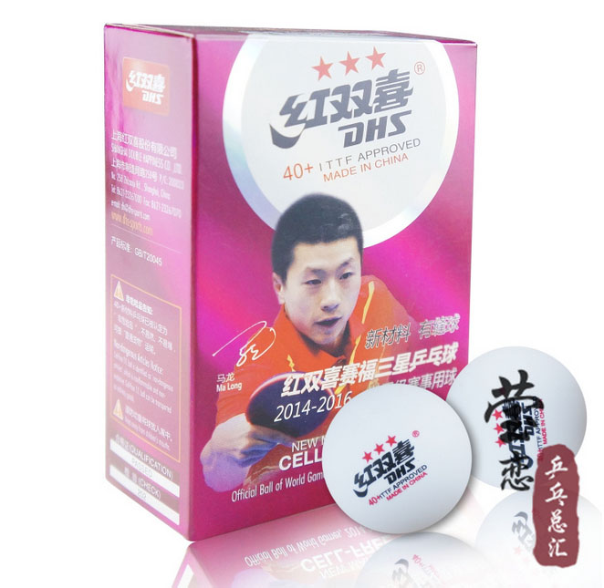 original DHS 40+ New Material CELL FREE Seamed 3 Star DHS Table Tennis Balls Professional White PingPong Balls ITTF Approved<br>