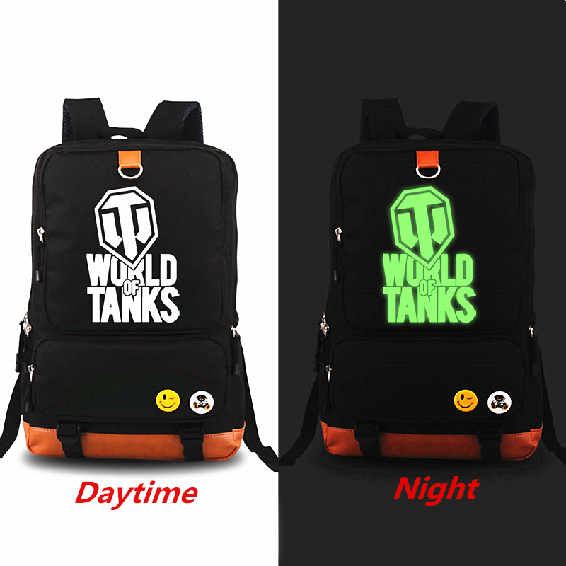 New 2018 Game WORLD OF TANKS Luminous Military Printing Backpack Fashion Teenagers School bags Knapsack Laptop Travel Bags <br>