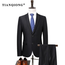 TIAN QIONG(Jacket + Pants)Suit Men 2017 Slim Fit Black Groom Wedding Suits for Men Classic Mens Designer Suits Brand Formal Wear(China)