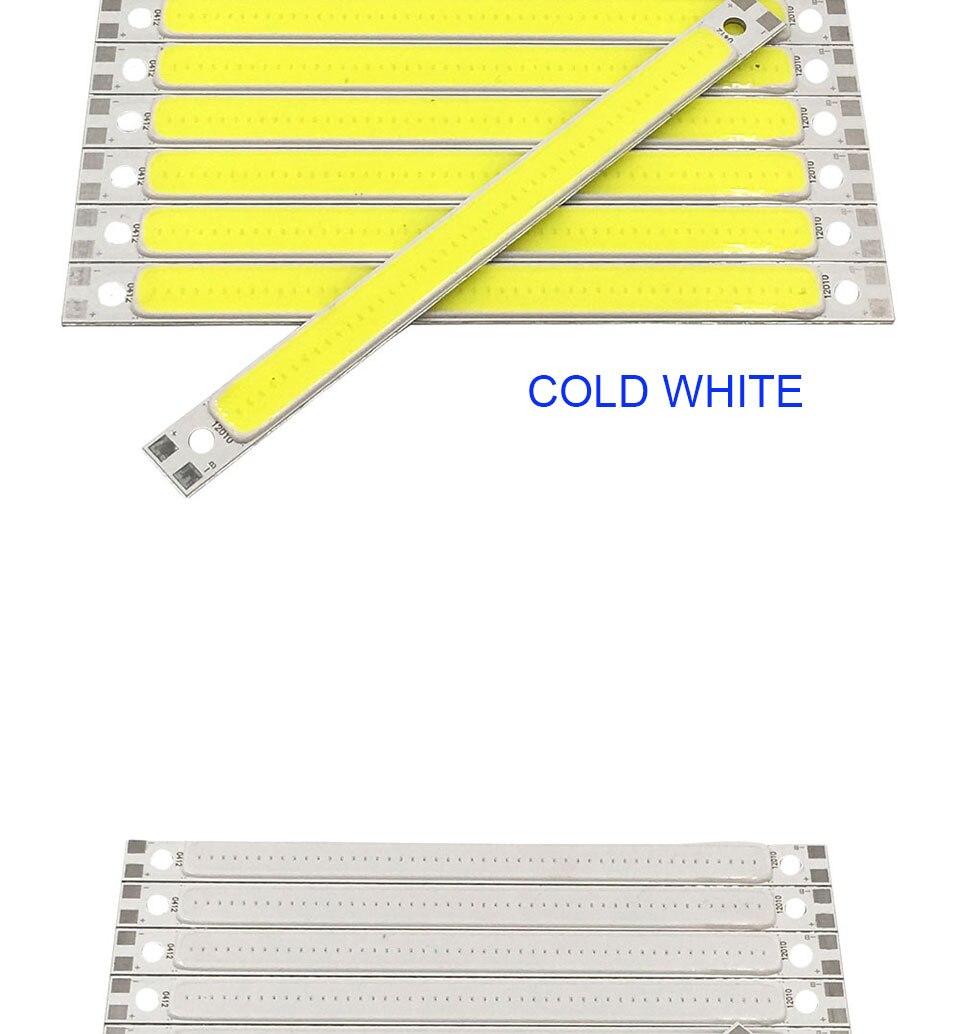 120mm 4.72in LED Bar Light Strip COB Bulb 12V 7W 10W LED Lamp Green Blue Red White Emitting Colors 12010mm COB Chip (8)
