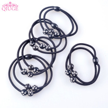5pcs Set Qiuge Simple Sport Hair Bands Wire Black Beads Crystal Ball Rubber Ring Elastic Hair Ties Rope Girls Women Scrunch(China)