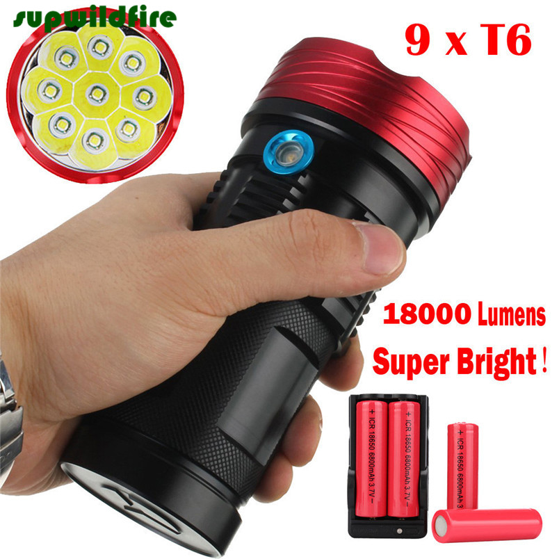 18000Lumen 9x XML T6 LED Flashlight Torch Tactical Hunting Work Lamp Free Shipping #NO13<br>