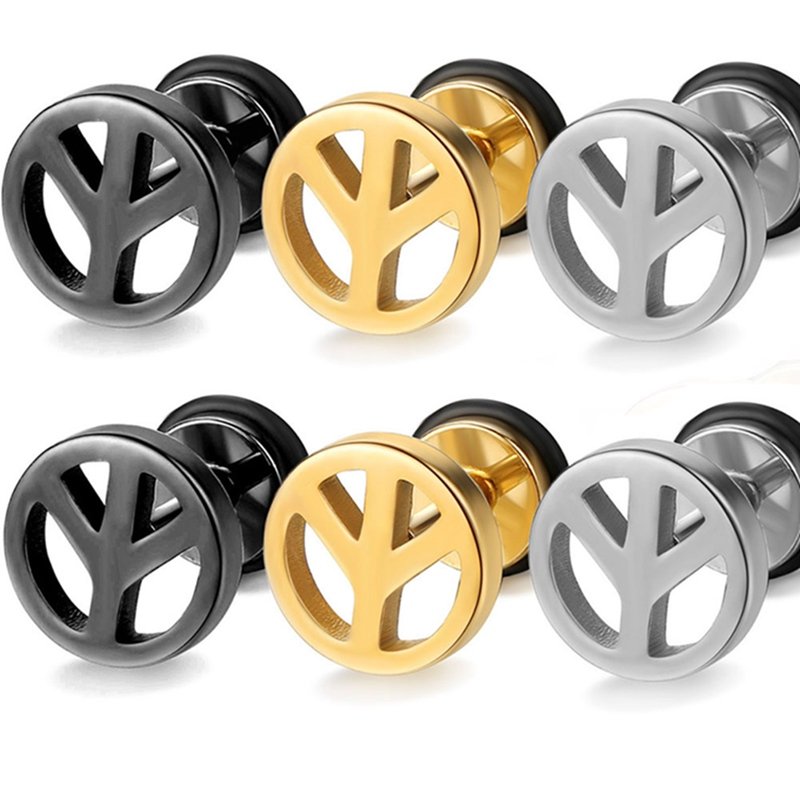 Titanium Steel Earrings Symbol Earrings Fashion Simple Anti-allergy Stud Earrings 3 Colors