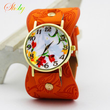 shsby new Printed leather Bracelet Wristwatch Wide band Dress Watch with lovely flowers Fashion Women Casual Watch girl's gift(China)