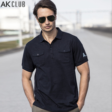 AK CLUB Men Polo Shirt Plain Fabric Cotton Polo Vintage Style Double Pockets AK LOGO Printing Short Sleeve Brand Polo 1716023