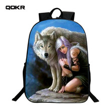 QOKR Oxford men backpacks Printing European Style Animal Wolf cat lion unicorn Bags primary School girls boys