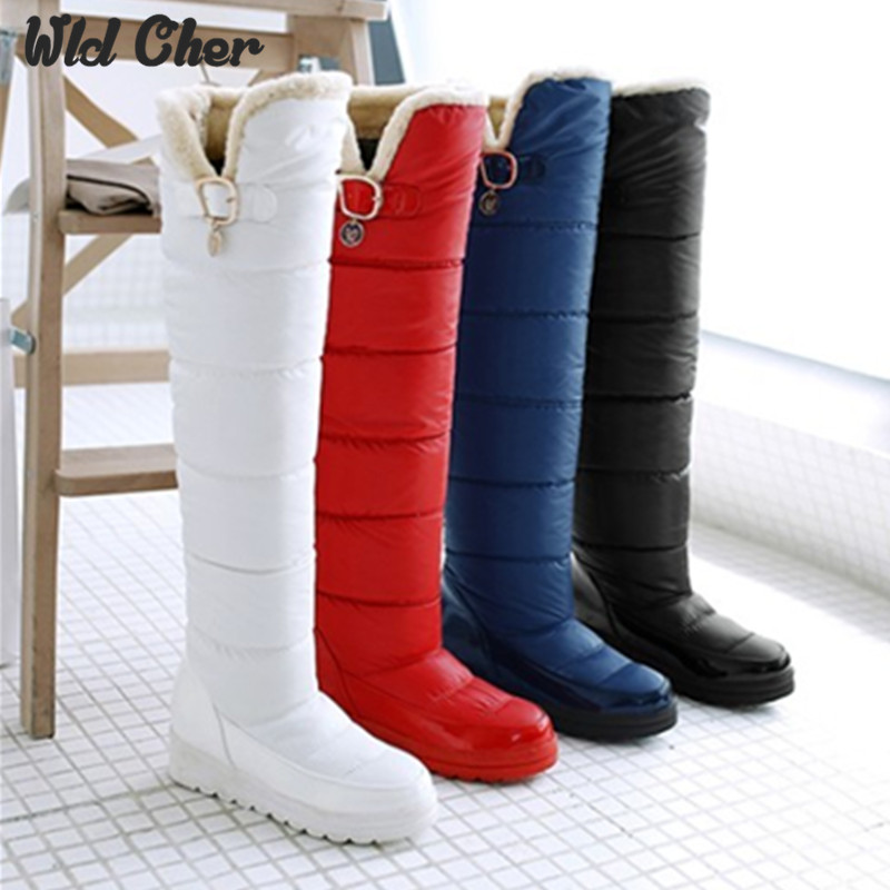 Waterproof size 34-43 Warm fur winter slip on wedges high heels over the knee women shoes sexy platform flock snow boots woman<br>