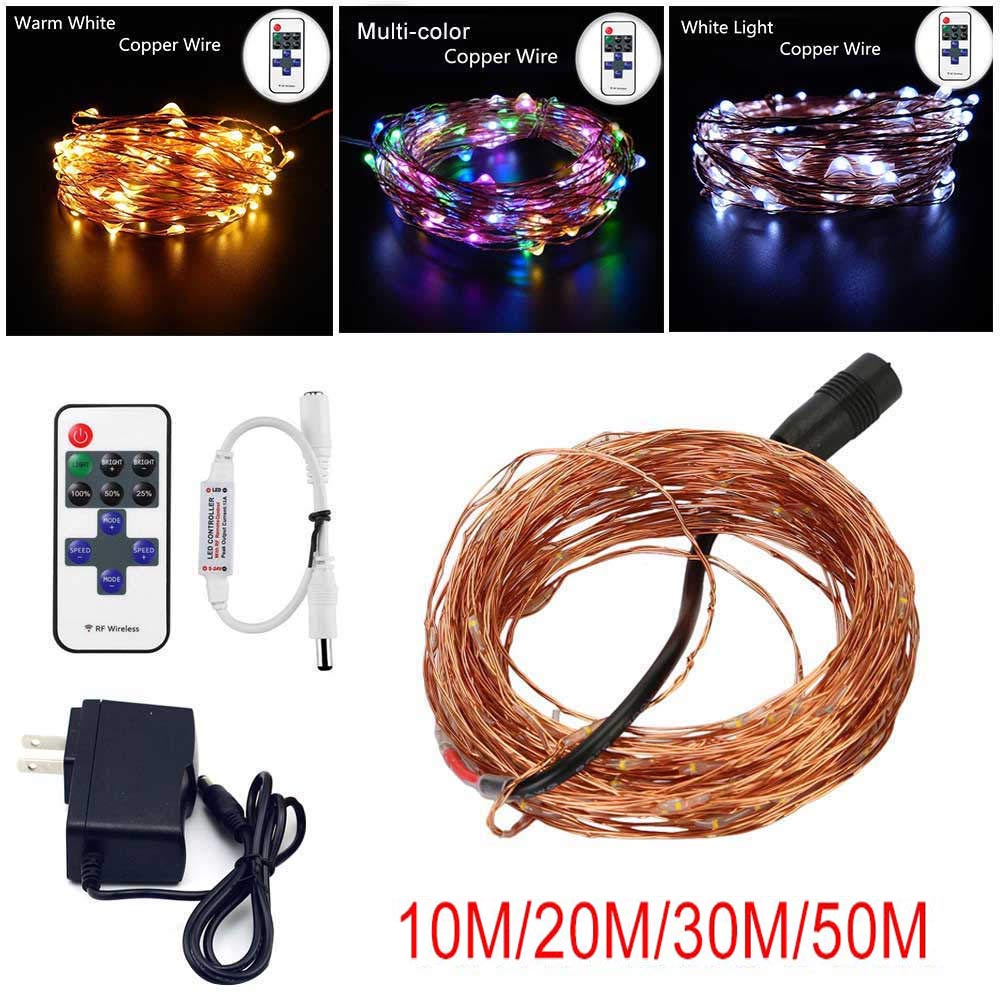 33FT 10M/20M/30M/50M DC12V LED String Silver Copper Wire Fairy String Lights Indoor Outdoor christmas wedding decoration(China (Mainland))