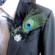New Free Shipping fashion male woman MEN Korean Japan handmade the spot show host peacock feather diamond flower brooch Headdres(China)