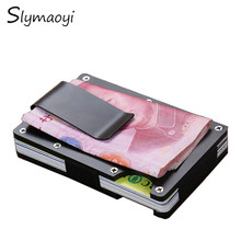 Slymaoyi Metal Mini Money Clip Brand Fashion Black Silver Credit Card ID Holder With RFID Anti-chief Wallet