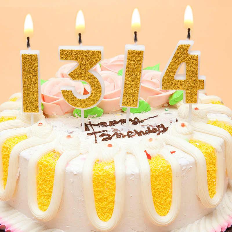 Birthday Candles Gold Sliver Pink Number 0 1 2 3 4 5 6 7 8 9