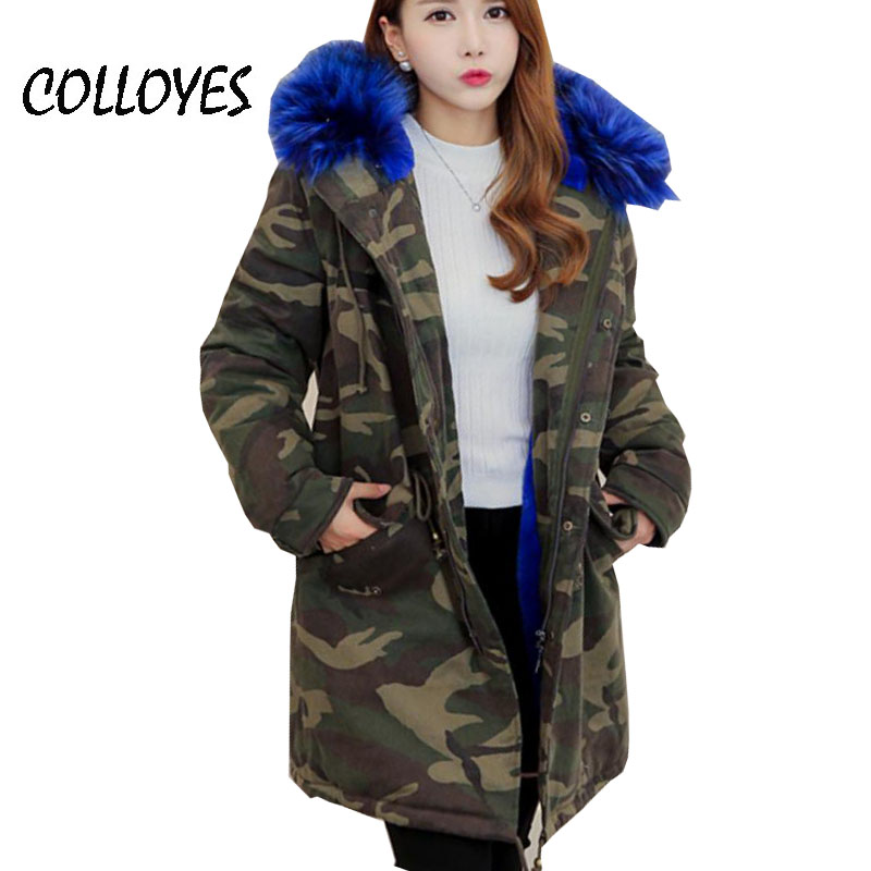 2016 Winter Army Green Wadded Coat Parkas For Women large natural real fur Collar Thick Jacket Outerwear Female High quality Одежда и ак�е��уары<br><br><br>Aliexpress