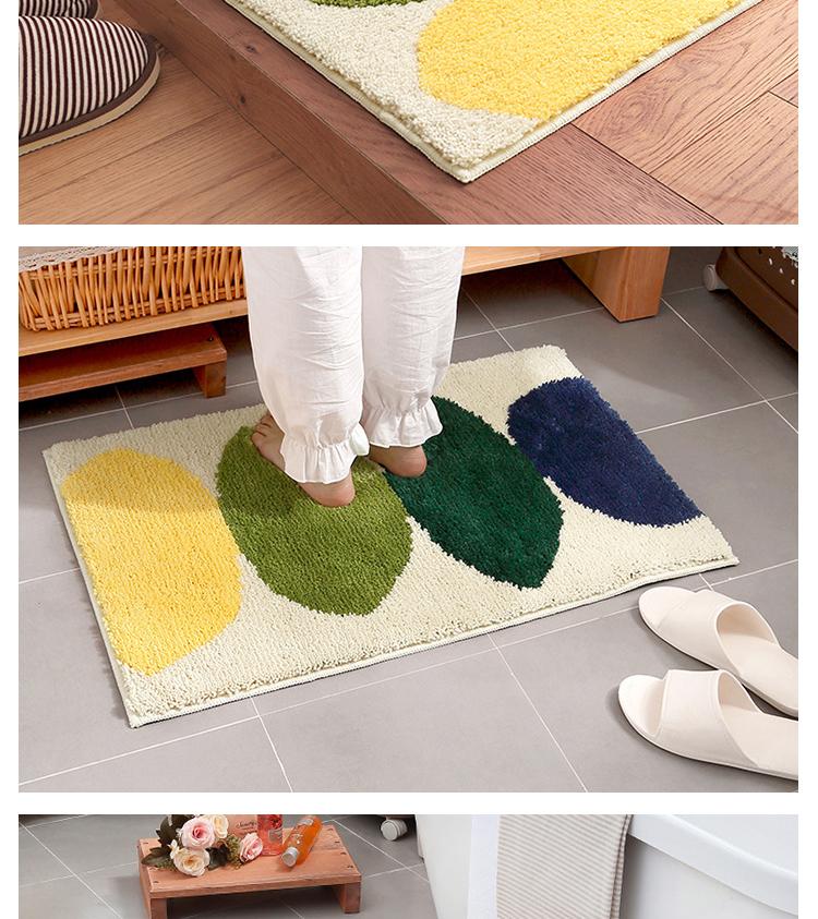Elegant Cartoon Flocking Mat 50x80cm Lemon Printed Home Hallway Living Room Rug  Carpet Thick Non Slip Absorbent Bathroom Floor Mats   Us334