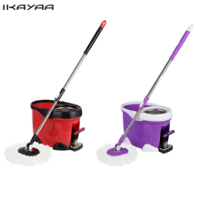 iKayaa Hands-free Stainless Steel Rolling Spin Mop Bucket Set Foot Pedal Rotating Self-Wring Floor Mop For Home FR Stock