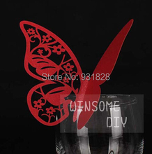 Bar cocktail Glass Markers Place Card butterfly Table Cards wedding birthday party Cake Toppers name card table decor red 02(China)