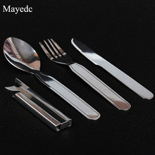 Outdoor EDC Portable Fork Spoon Knife Camp Cutlery Utensils Tableware Dinnerware set Hiking Survival Kit Opener Picnic accessory(China)