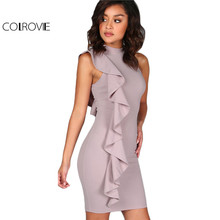 COLROVIE Lavender Summer Dress Women One Sided Exaggerated Frill Sexy Bodycon Dresses 2017 Fashion High Neck Elegant Party Dress(China)