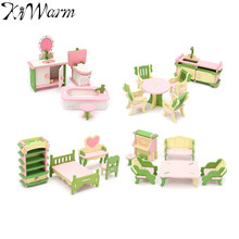 KiWarm Wooden Miniature Room Furniture Set Ornaments Figurines Dolls House Kids Pretend Play Toys Gifts Home Decoration Crafts