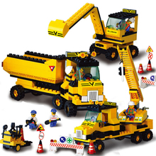 474pcs/set Construction Team Building Blocks Children Toy Excavator Crane Forklift Construction Bricks Educational Toy