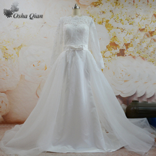 China New Arrival Ivory Detachable Wedding Dress Train Lace Long Sleeve Bridal Gown Corset Back Bride Dresses Robe mariage(China)