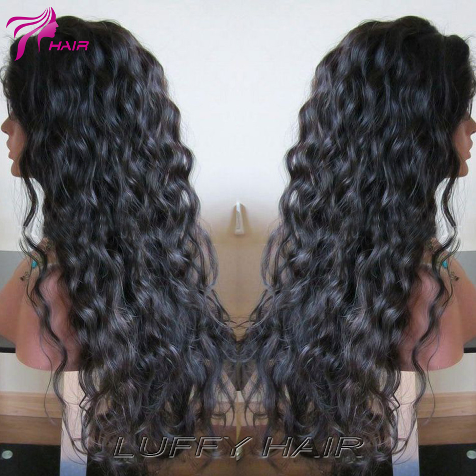 8A Curly Full Lace Front Wigs Human Hair Peruvian Virgin Hair Glueless loose curly Lace Front Human Hair Wigs For Black Women<br><br>Aliexpress