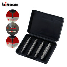 Binoax 4Pcs Screw Extractor Drill Bits Guide Set Broken Damaged Bolt Remover Double Ended Damaged Screw Extractor 1# 2# 3# 4#(China)