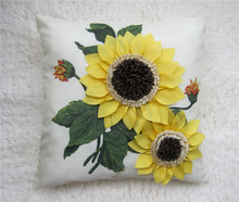 Modern 3D Handmade Decorative Cushion Cover Sunflower Ivory Faux Silk Sofa  Throw Pillow Case