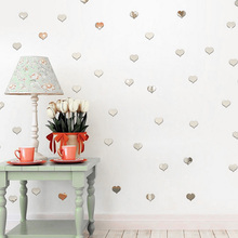 100pcs 3D Mini Love Heart Wall Sticker Self Adhensive Mirror Stickers Wall Acrylic Decal Small Fresh style(China)