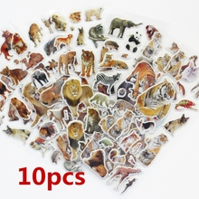 10 Sheets/set Wildlife Wild Animals Scrapbooking Bubble Puffy Stickers Tigers Lions stickers Kawaii Emoji Reward Kids Toys(China)