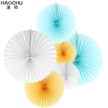 6pcs/set Creative Paper Flower Fan Handmade Striped Folding Paper Fans for Birthday Baby Shower Festival Wedding Hanging Decor(China)