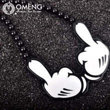 OMENG Good Wood Hip Hop Necklace Men Beads Long Chain Pendants Necklaces Men's middle finger Gesture Women Rock Jewelry OXL473