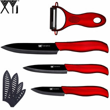 Christmas Decorations For Home XYj Ceramic Knife Red & Black Paring Utility Slicing Knife + Peeler Kitchen Knives Tools Set(China)