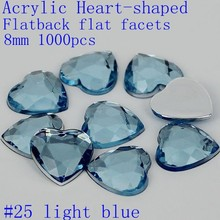 Flat Back Flat Facets Heart Shaped 8mm 1000pcs Many Color Acrylic Nail Supplies Rhinestone 3D Nail Art Jewelry Charms Decoration