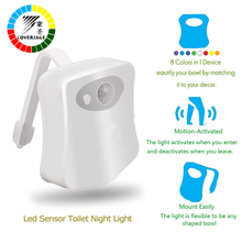 Coversage Smart Toilet Night Light LED Motion Auto Sensor Activated Bathroom With 8 Color Changing Battery Operated Washroom(China)